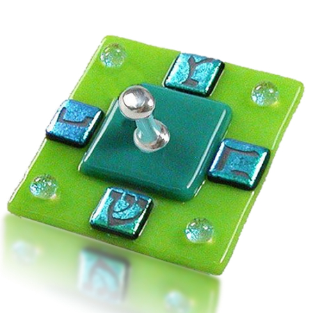 Dreidel Glass Fusion Square with Green Dichoric Glass by Fire Glass Studio