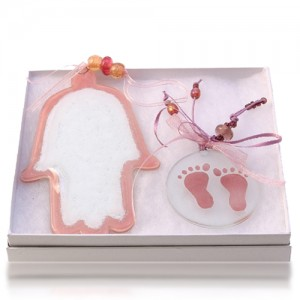 Hamsa Set Glass Fusion in Pink for Baby by Fire Glass Studio
