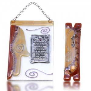 Home Blessing Set Glass Fusion with Amber Hamsa by Fire Glass Studio
