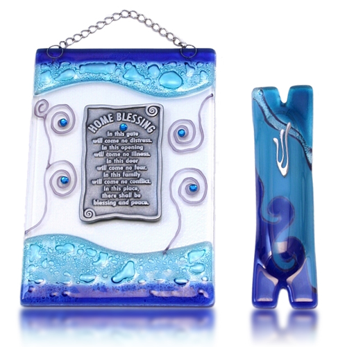 Home Blessing Set Glass Fusion with Blue Swirl by Fire Glass Studio