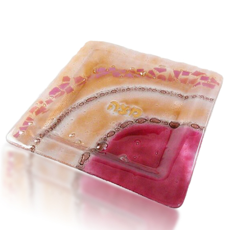 Matza Plate Glass Fusion Square in Rose by Fire Glass Studio