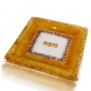 Matza Plate Glass Fusion Square with Gold Edge by Fire Glass Studio