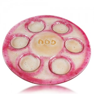 Seder Plate Glass Fusion Round in Rose by Fire Glass Studio