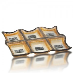 Seder Plate Glass Fusion with Brown Edge Rectangles by Fire Glass Studio