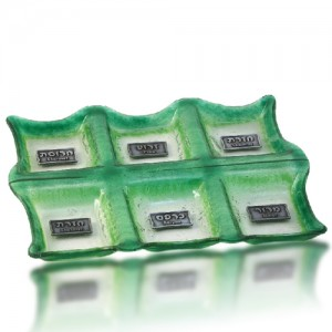 Seder Plate Glass Fusion with Green Edge Rectangles by Fire Glass Studio