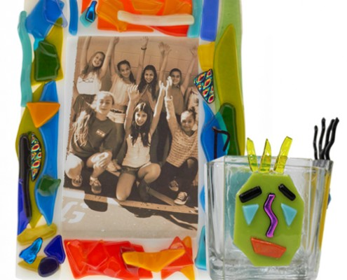 Glass Fusion Pencil Holder with Cartoon Faces and Picture Stand by Fire Glass Studio