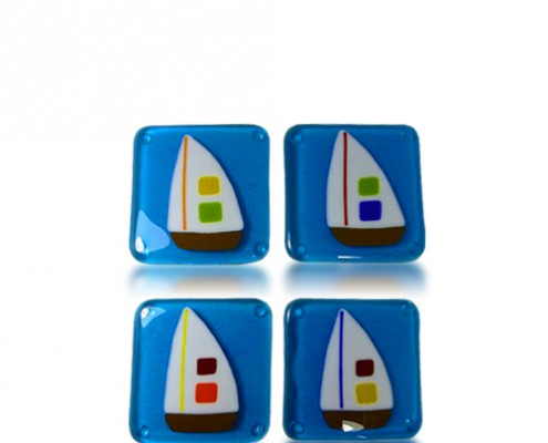 Boat Magnets by Fire Glass Studio