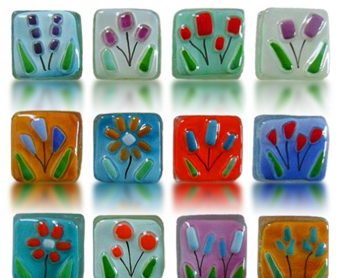 Magnets Glass Fusion with Flowers by Fire Glass Studio