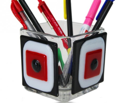 Pencil Holder Glass Fusion in Red, Black and White by Fire Glass Studio