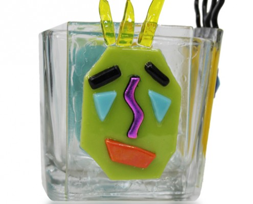 Pencil Holder Glass Fusion with Cartoon Faces by Fire Glass Studio