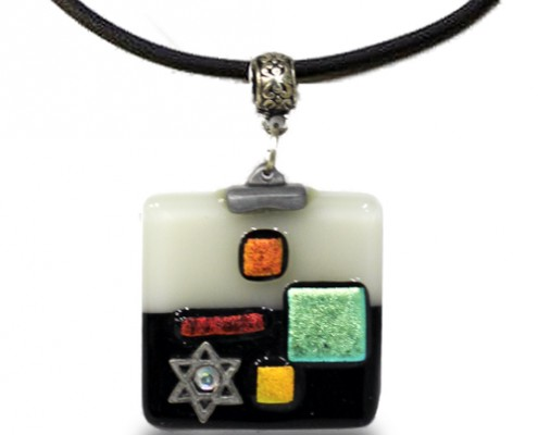 Pendant Glass Fusion in Black and Cream by Fire Glass Studio