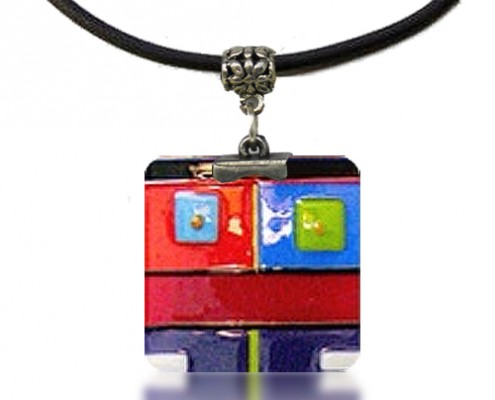Pendant Glass Fusion in Multi-Color by Fire Glass Studio