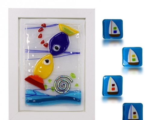 Placque Glass Fusion with Kissing Fish and Magnets by Fire Glass Studio