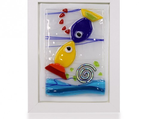 Placque Glass Fusion with Kissing Fish by Fire Glass Studio