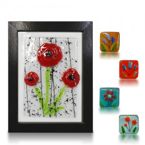 Placque Glass Fusion with Red Poppy Seed and Magnets by Fire Glass Studio