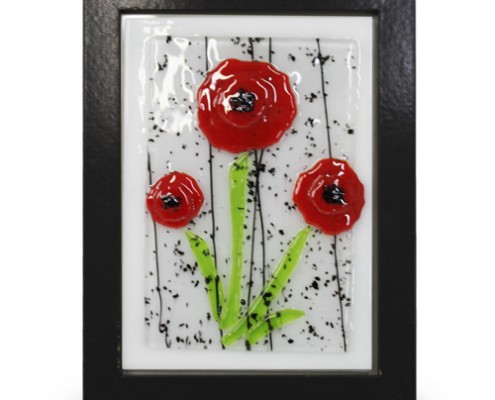 Placque Glass Fusion with Red Poppy Seed by Fire Glass Studio