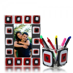 Picture Stand and Pencil Holder Glass Fusion Red, Black and White by Fire Glass Studio