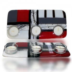 Tea Light Candle Holder Glass Fusion in Red, Black and White by Fire Glass Studio