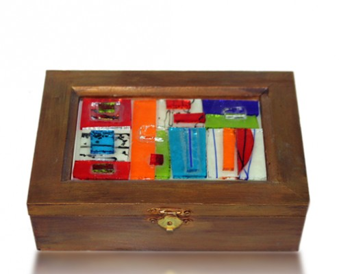 Treasure Chest Glass Fusion Inlay by Fire Glass Studio