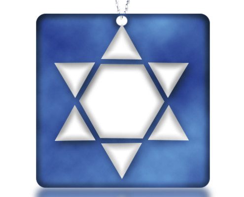 Fire Glass Studio Glass Fusion Blue Star of David Pendant