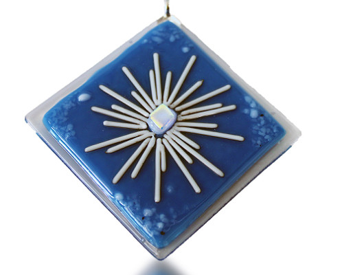 Fire Glass Studio Glass Fusion Blue Star Pendant
