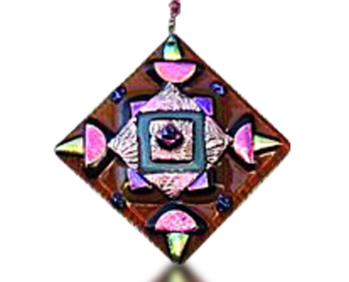 Fire Glass Studio Glass Fusion Brown Diamond Ornament
