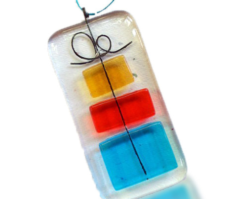 Fire Glass Studio Glass Fusion Christmas Package Ornament