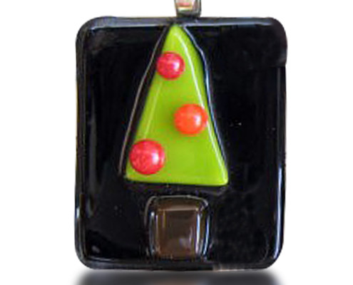 Fire Glass Studio Glass Fusion Christmas Tree Black Block Ornament