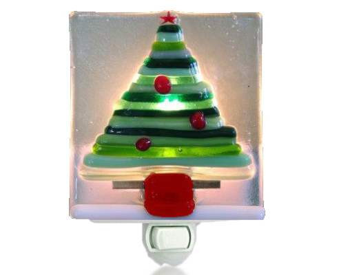 fire glass studio glass fusion christmas tree nightlight - Christmas Tree Night Light
