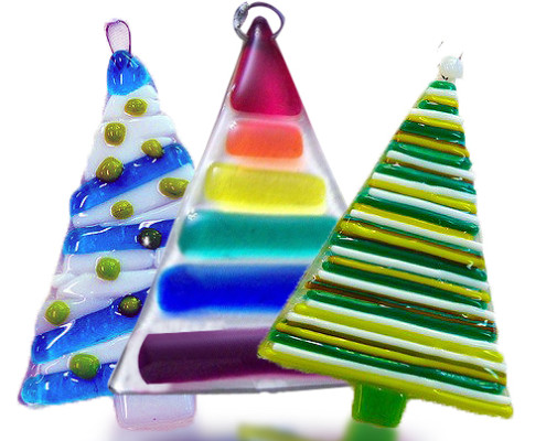 Fire Glass Studio Glass Fusion Christmas Tree Ornament