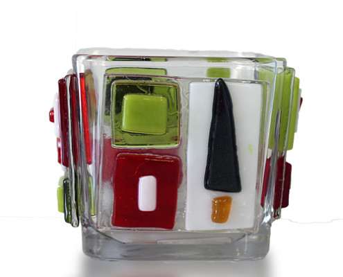 Fire Glass Studio Glass Fusion Christmas Tree Pencil Holder