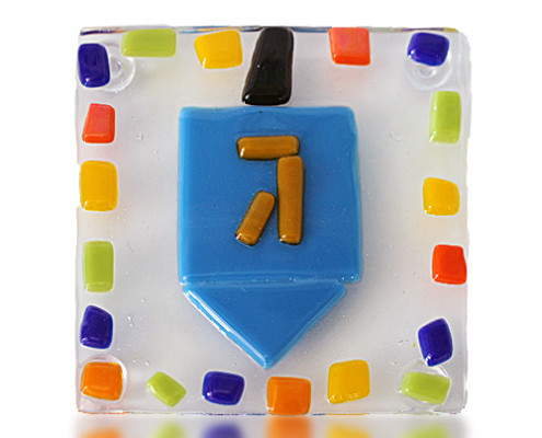 Fire Glass Studio Glass Fusion Dreidel Coaster