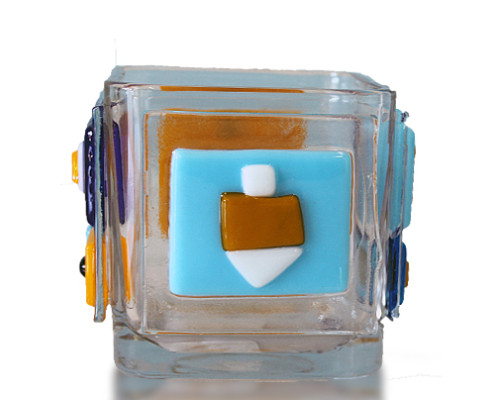 Fire Glass Studio Glass Fusion Dreidel Pencil Holder