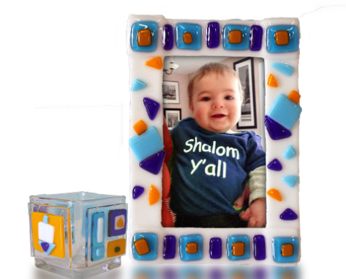 Fire Glass Studio Glass Fusion Dreidel Picture Frame and Pencil Holder