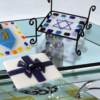 Fire Glass Studio Glass Fusion Holiday Coaster Set