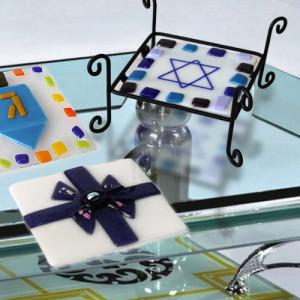Fire Glass Studio Glass Fusion Holiday Coaster Set