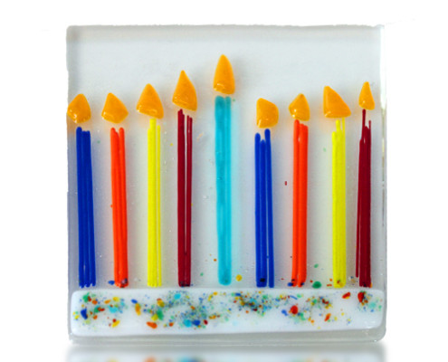 Fire Glass Studio Glass Fusion Menorah Coaster