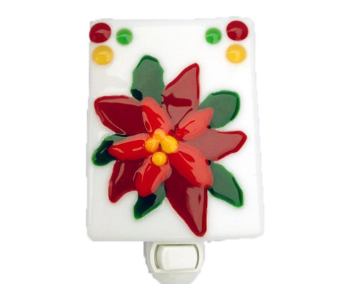 Fire Glass Studio Glass Fusion Poinsetta Nightlight