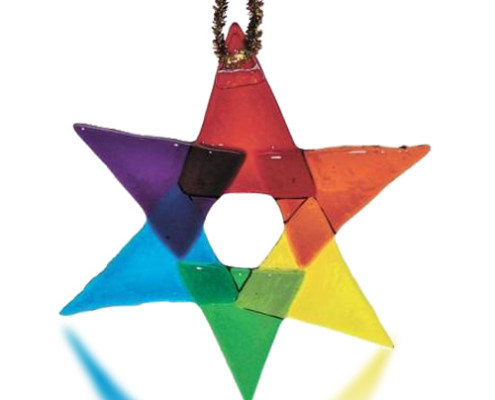 Fire Glass Studio Glass Fusion Rainbow Hakka Star Ornament