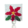 Fire Glass Studio Glass Fusion Red Poinsetta Nightlight 2