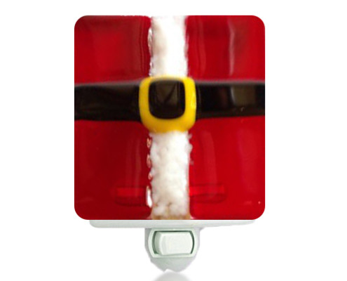 Fire Glass Studio Glass Fusion Santa Suit Nightlight