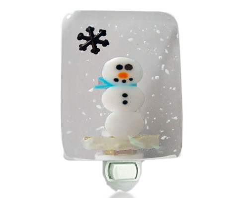 Fire Glass Studio Glass Fusion Snowman Nightlight