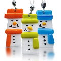 Fire Glass Studio Glass Fusion Snowmen Pendants