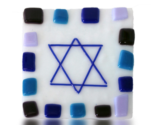 Fire Glass Studio Glass Fusion Star of David Coaster